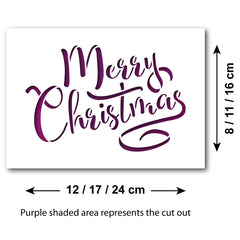 CraftStar Merry Christmas Stencil - Size Guide