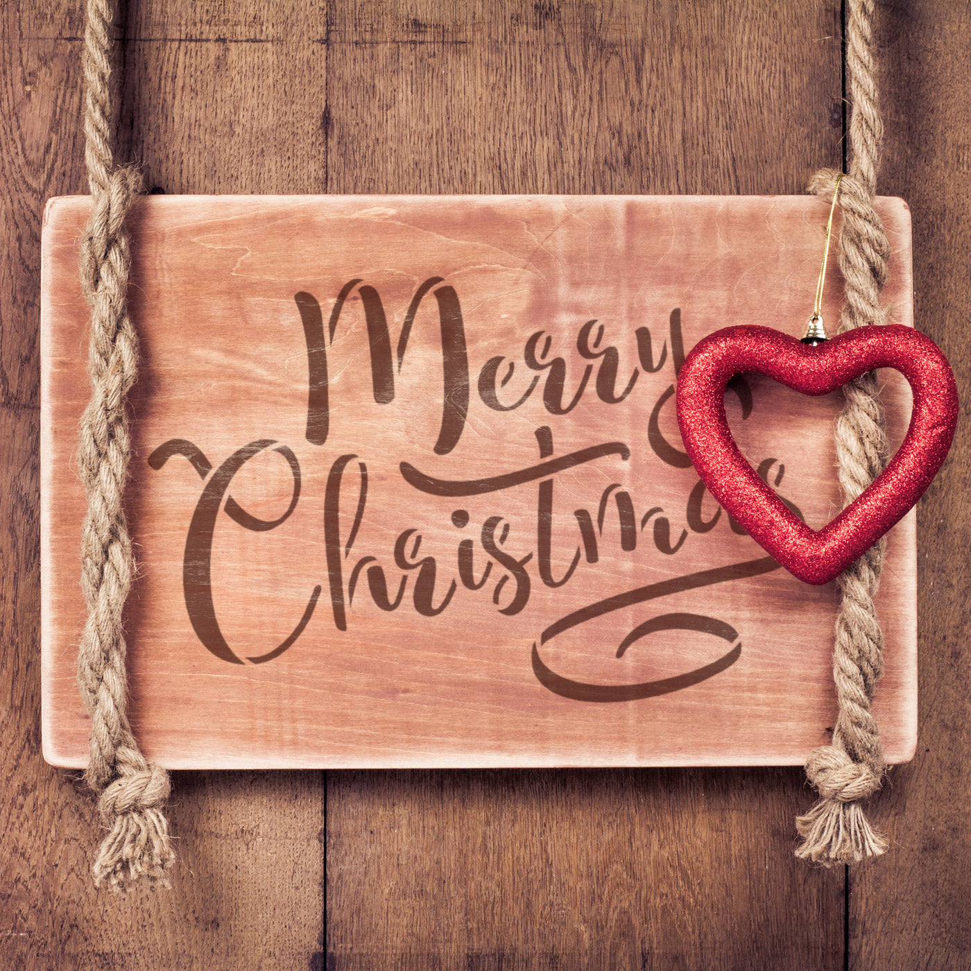 CraftStar Merry Christmas Stencil on Wooden Sign