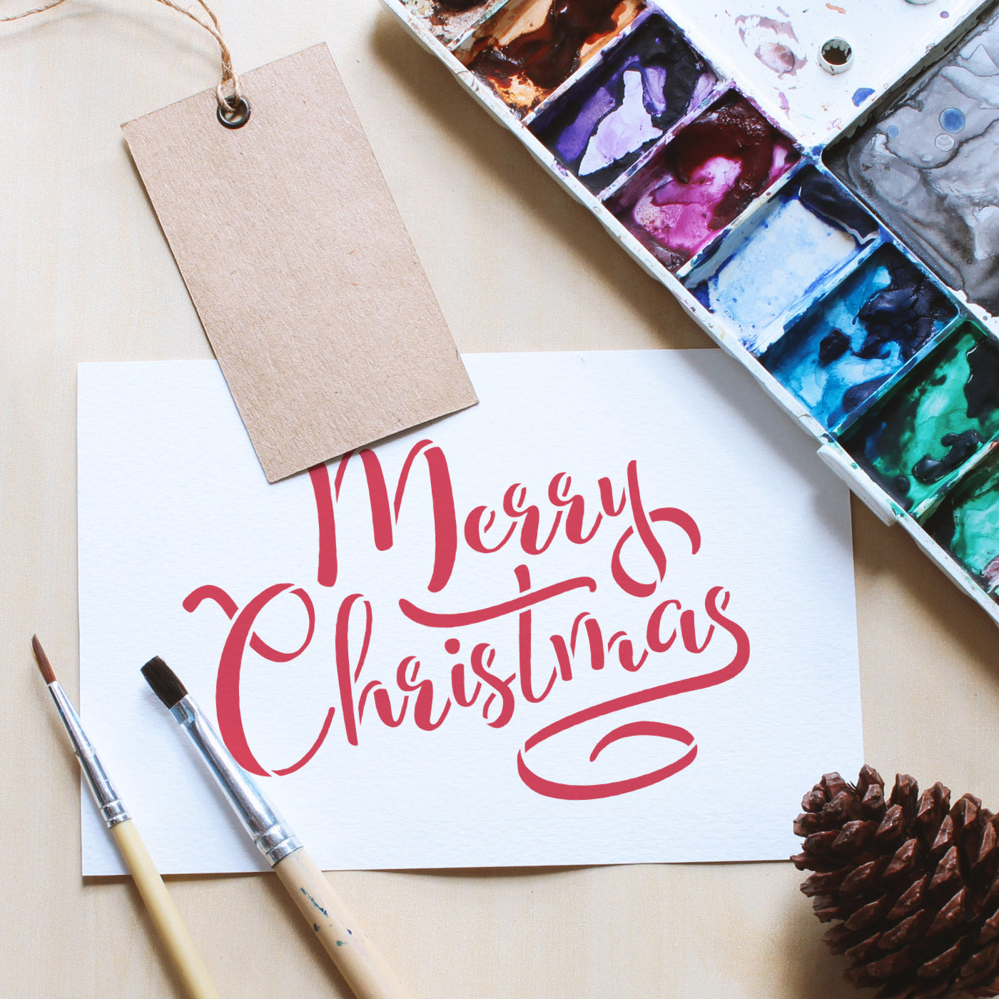 CraftStar Merry Christmas Stencil - Calligraphy on Card