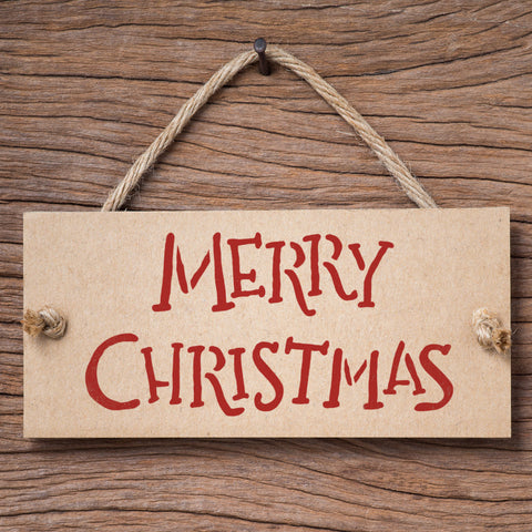 Merry Christmas Stencil - Hand Written Style on Sign