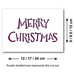Merry Christmas Stencil - Hand Written Style - Size Guide