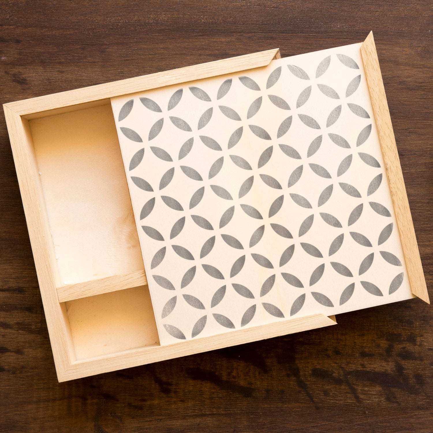 CraftStar Moorish Lattice Pattern Stencil on wooden box