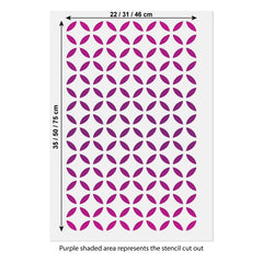 CraftStar Moroccan Lattice Stencil size guide