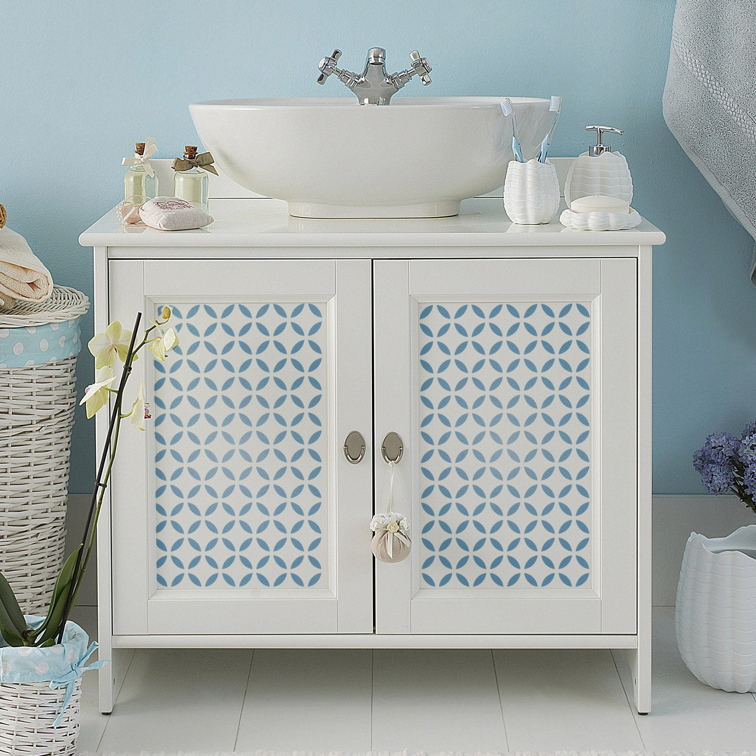 CraftStar Moroccan Lattice Stencil on wooden cabinet