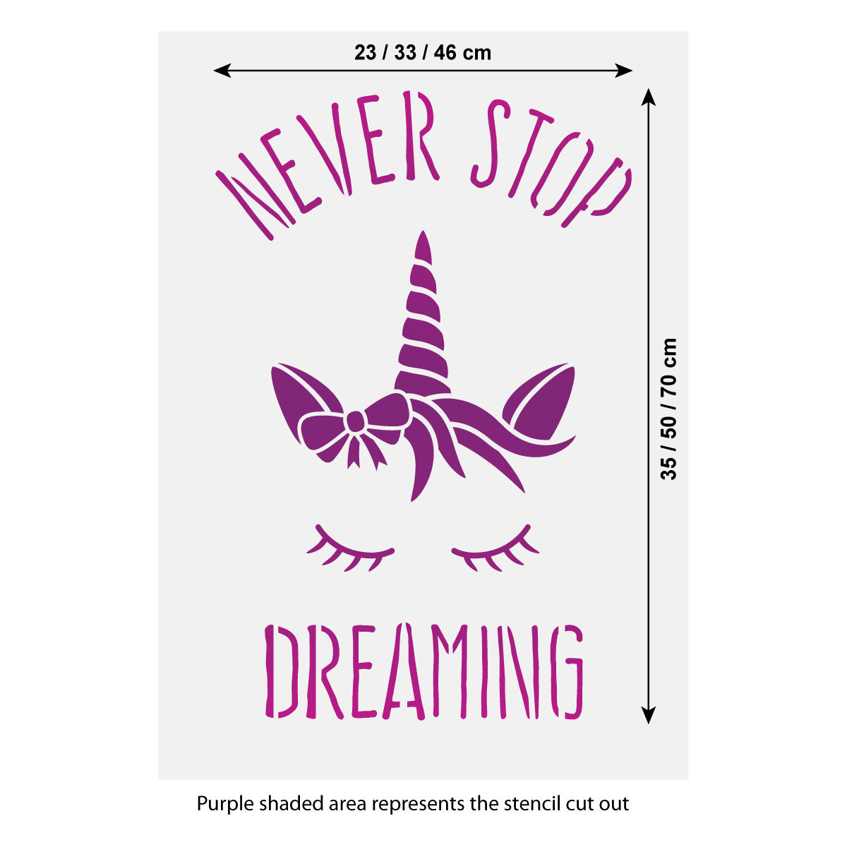 CraftStar Never Stop Dreaming Unicorn Stencil Size Guide