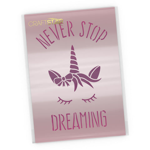 Never Stop Dreaming Sleeping Unicorn Stencil - Craft Template