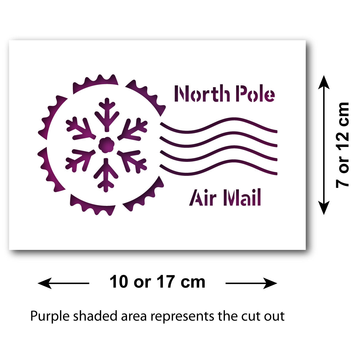 CraftStar North Pole Postmark Stencil - Size Guide
