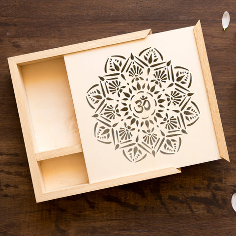 CraftStar Om Mandala Stencil on Wooden Box