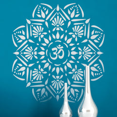 CraftStar Om Mandala Stencil in whites