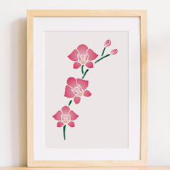 CraftStar Orchid Flowers Stencil As Framed Print