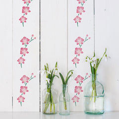 CraftStar Orchid Flowers Stencil on Wooden Surface