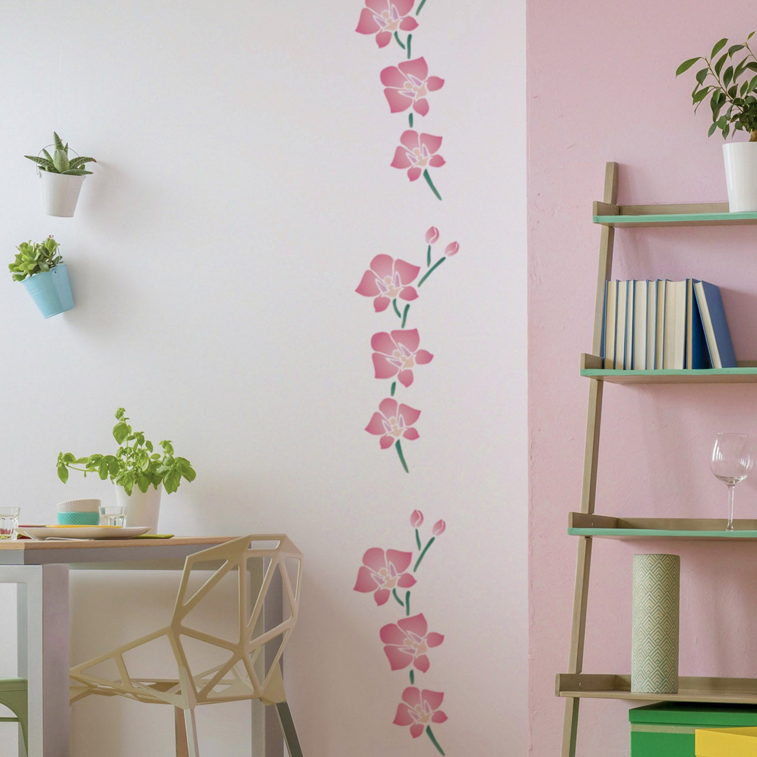 CraftStar Large Orchid Flower Stencil on Wall