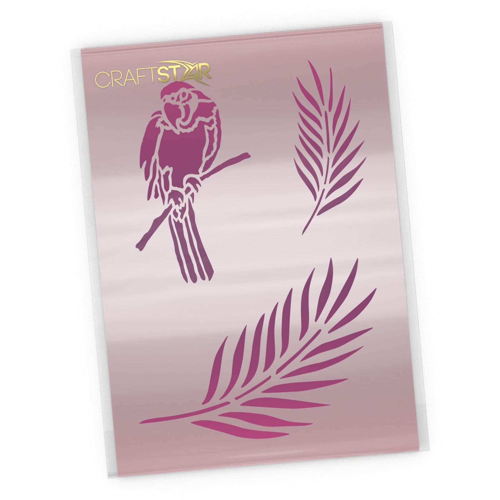 Parrot and Palm Leaves Stencil - Craft Template