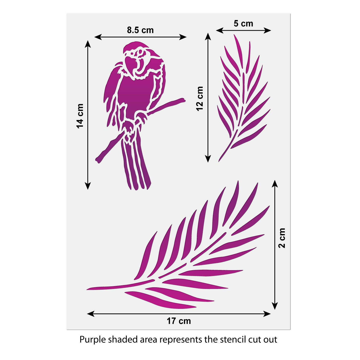 CraftStar Parrot and Palm Leaf Stencil size guide