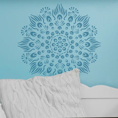 CraftStar Peacock Mandala Stencil on nursery wall