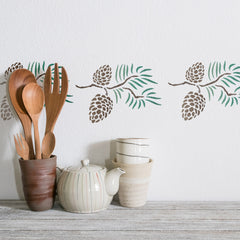 CraftStar Pine Cones Stencil on Wall