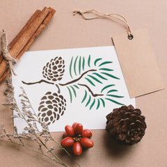 CraftStar Pine Cones Stencil on card