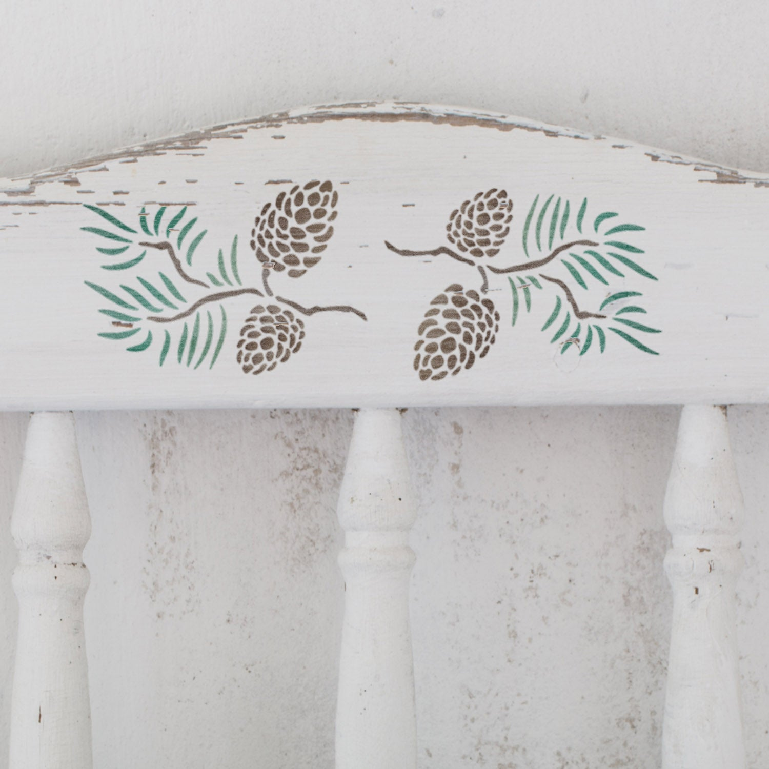 CraftStar Pine Cones Stencil on Wooden Furniture