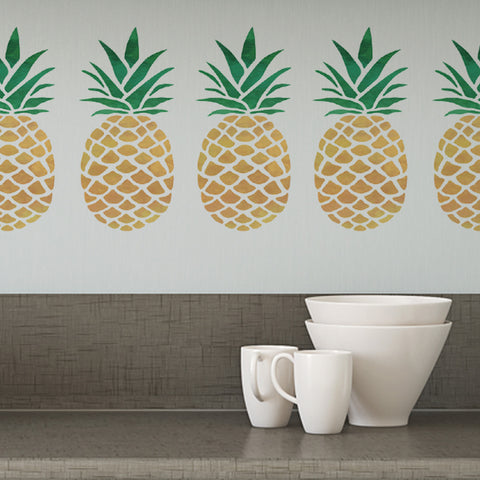 CraftStar Pineapple Stencil on Kitchen Wall
