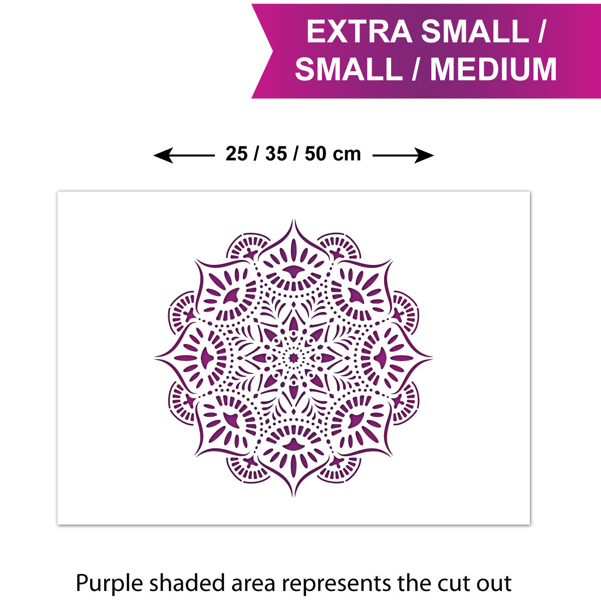 CraftStar Reflections Mandala Stencil - Sizes - XS/S/M