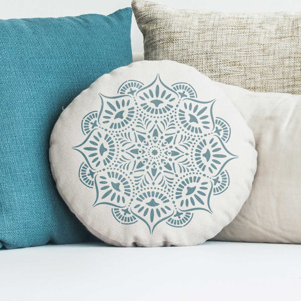 CraftStar Reflections Mandala Stencil on Round Cushion