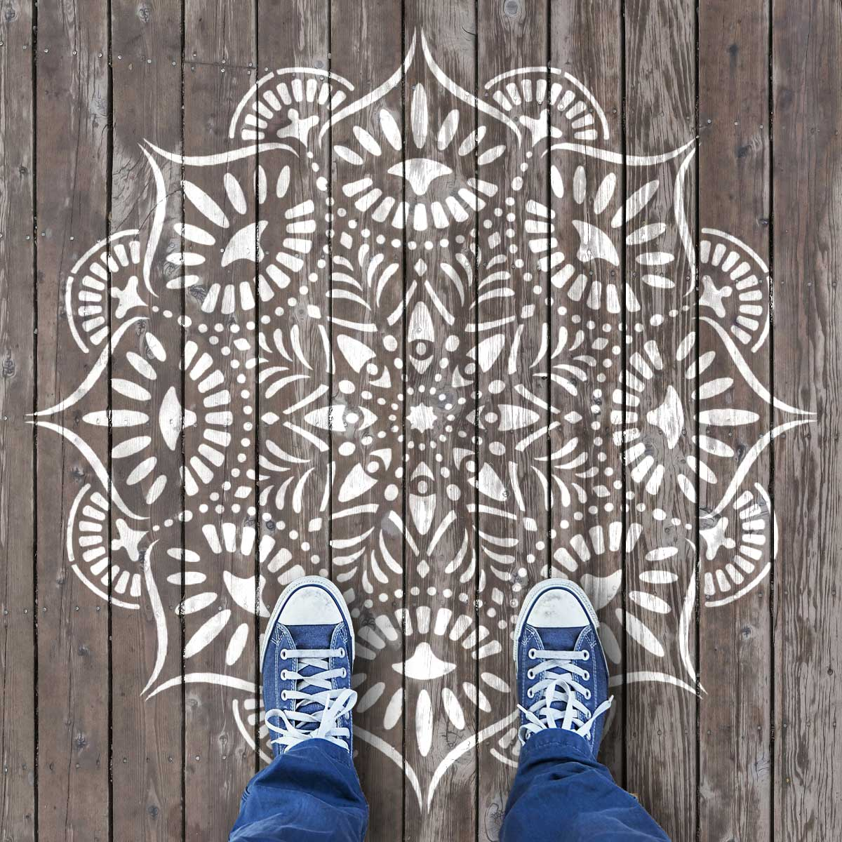 CraftStar Reflections Mandala Design - Stencilled Decking