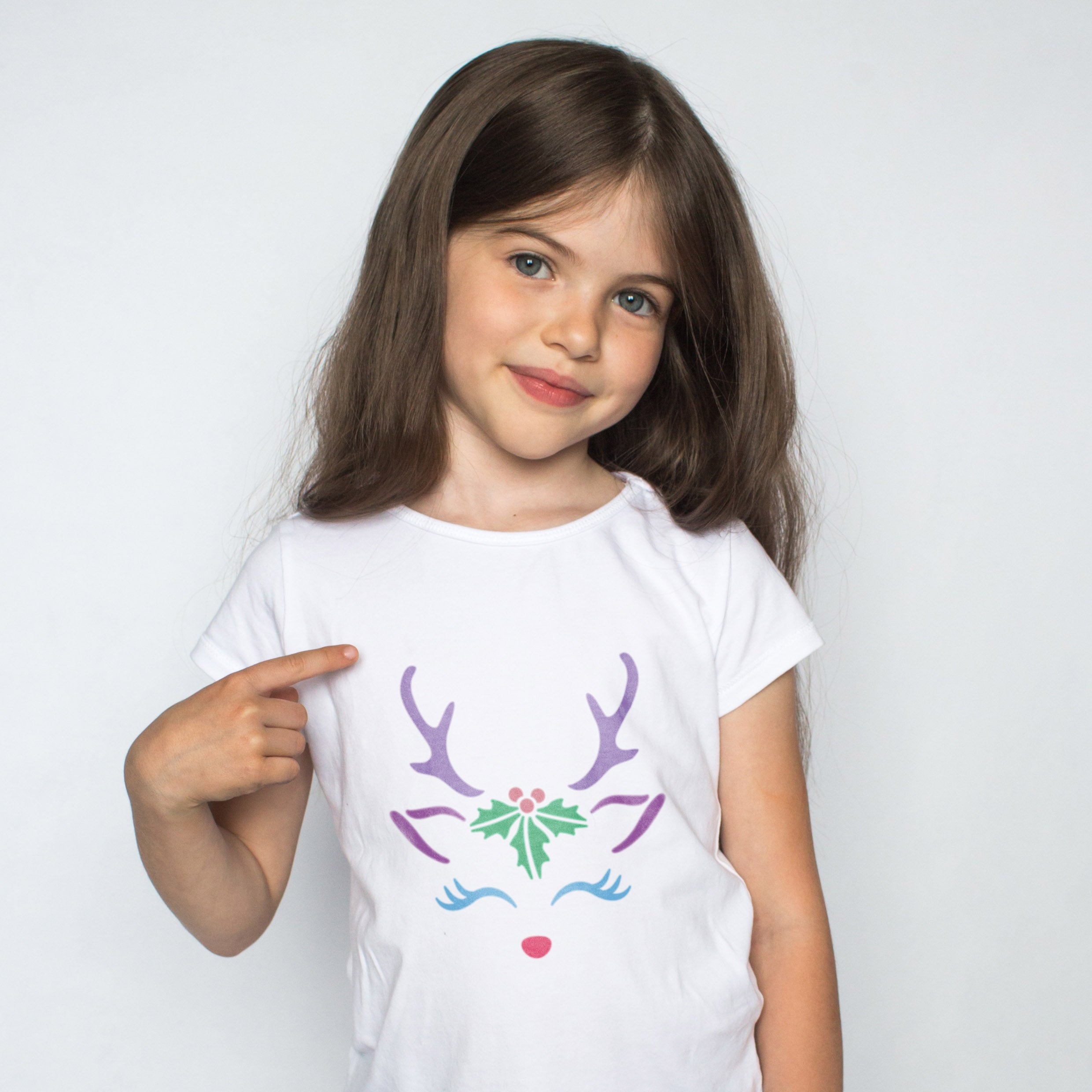 CraftStar Reindeer Face Stencil on T shirt