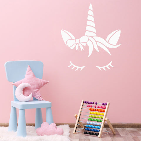 CraftStar Sleeping Unicorn Wall Stencil in Pink Child's Bedroom