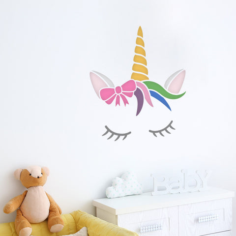 CraftStar Sleeping Unicorn Wall Stencil in Nursery