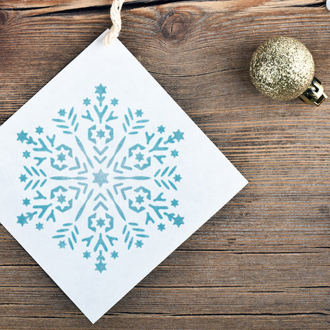 CraftStar Snowflake Mandala Stencil on Christmas Decoration