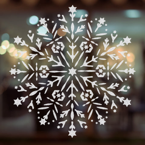 CraftStar Snowflake Mandala Stencil on Window