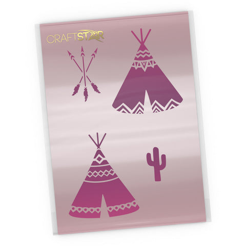 Native American Teepee Stencil Set - Craft Template
