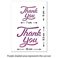 CraftStar Thank You Stencil Set Size Guide
