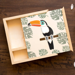 CraftStar Toucan Stencil on wooden box