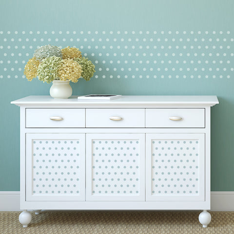 CraftStar Small Polka Dot Wall Stencil on Walls and Furniture