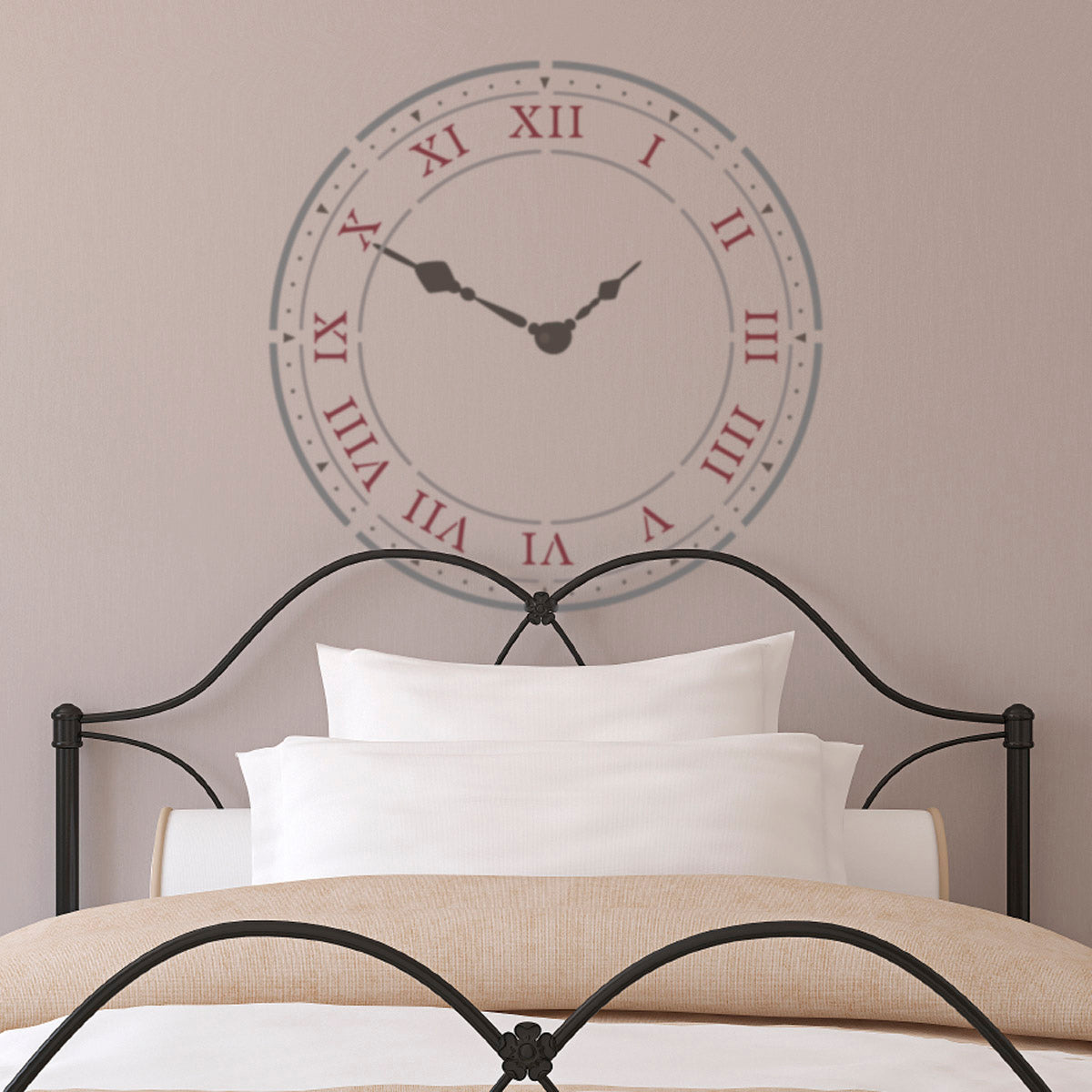 CraftStar Roman Numeral Clock Stencil Above Bed