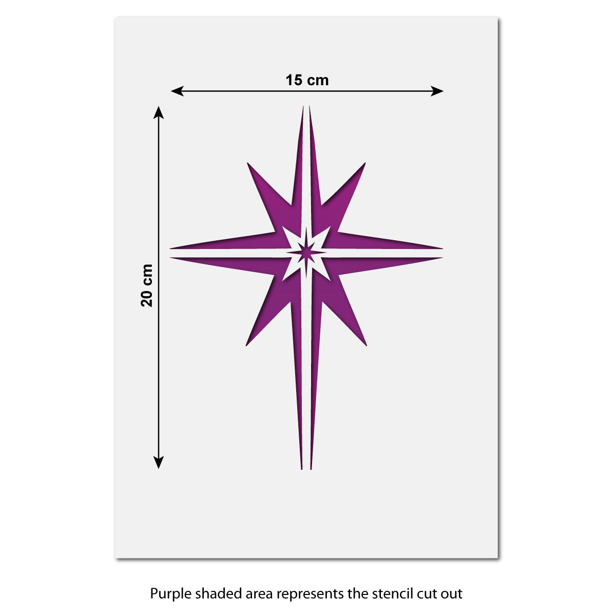 CraftStar Christmas Star Stencil Size Information