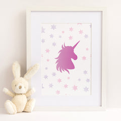 CraftStar Unicorn and Stars Stencil as a framed print