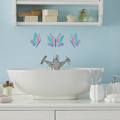 CraftStar Butterflies Stencil Set on Bathroom Wall