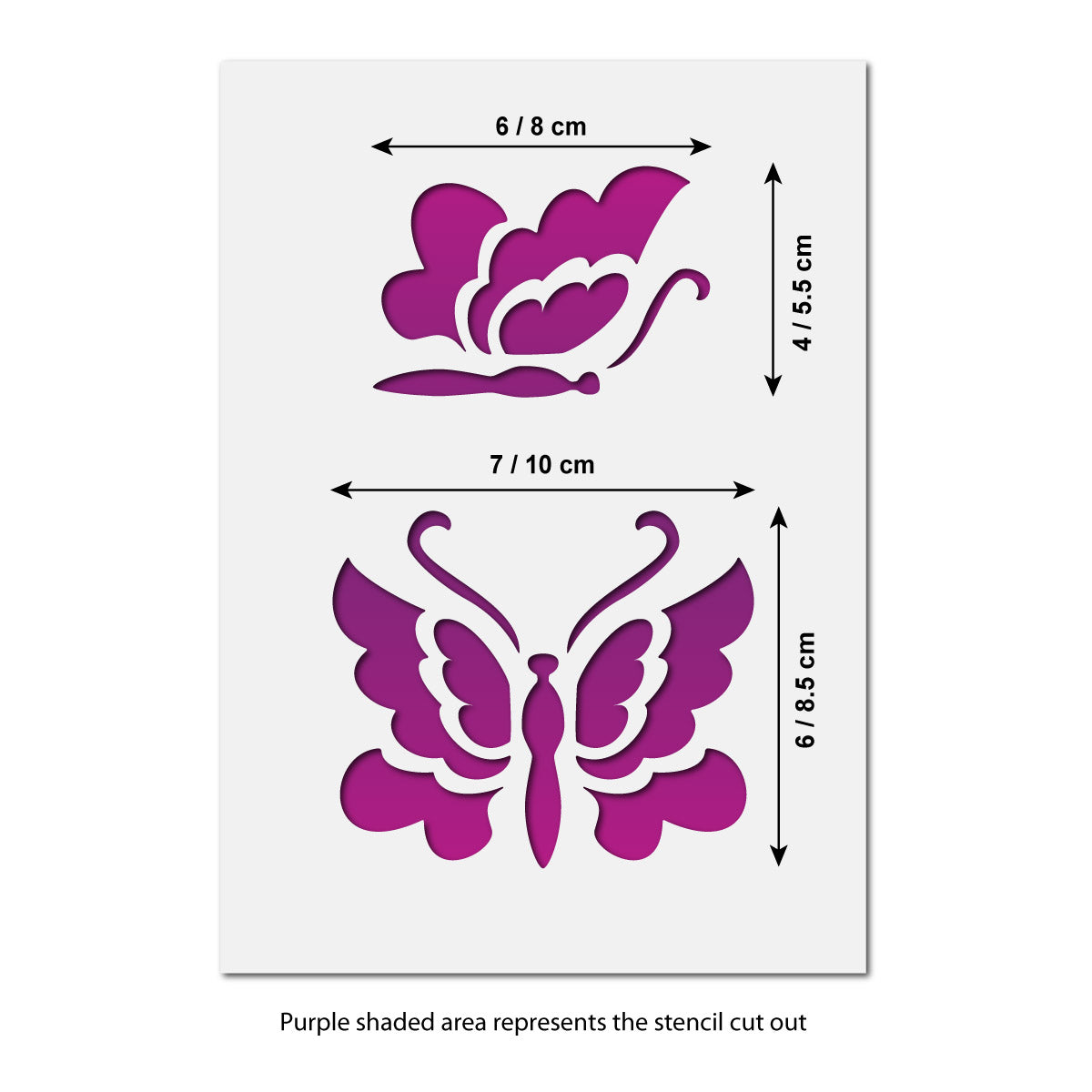 CraftStar Butterflies Stencil Set Size Guide