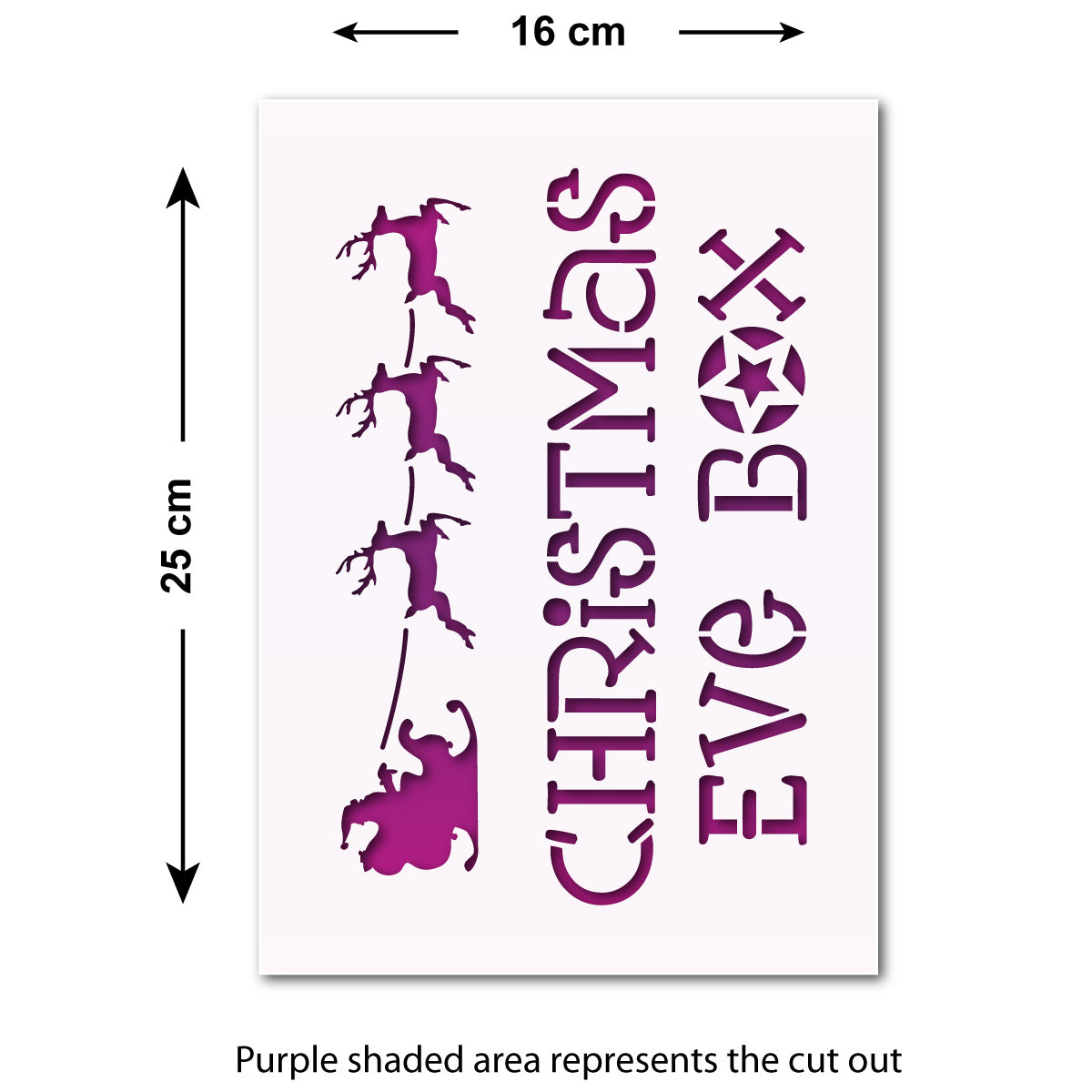 CraftStar Christmas Eve Box Stencil - Size Guide