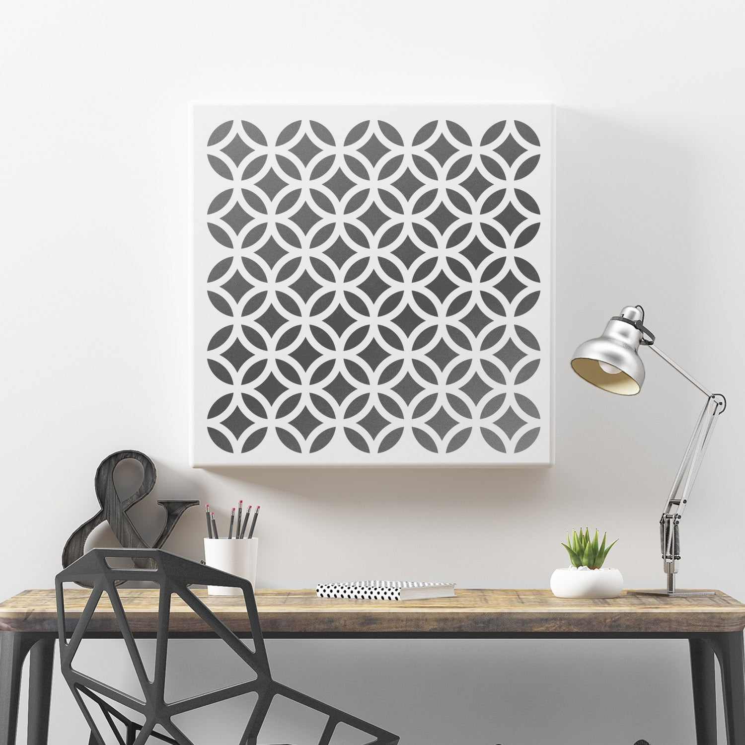 CraftStar Diamond and Circle Pattern Stencil as Canvas print