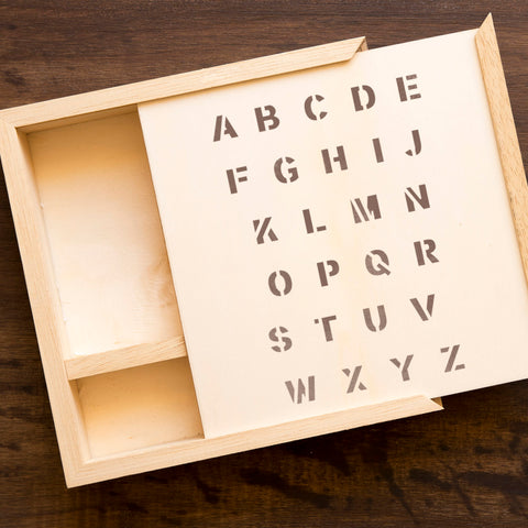 CraftStar Classic Bold Font Alphabet Stencil on Wooden Box