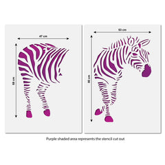 CraftStar Zebra Wall Stencil - Extra Large Size