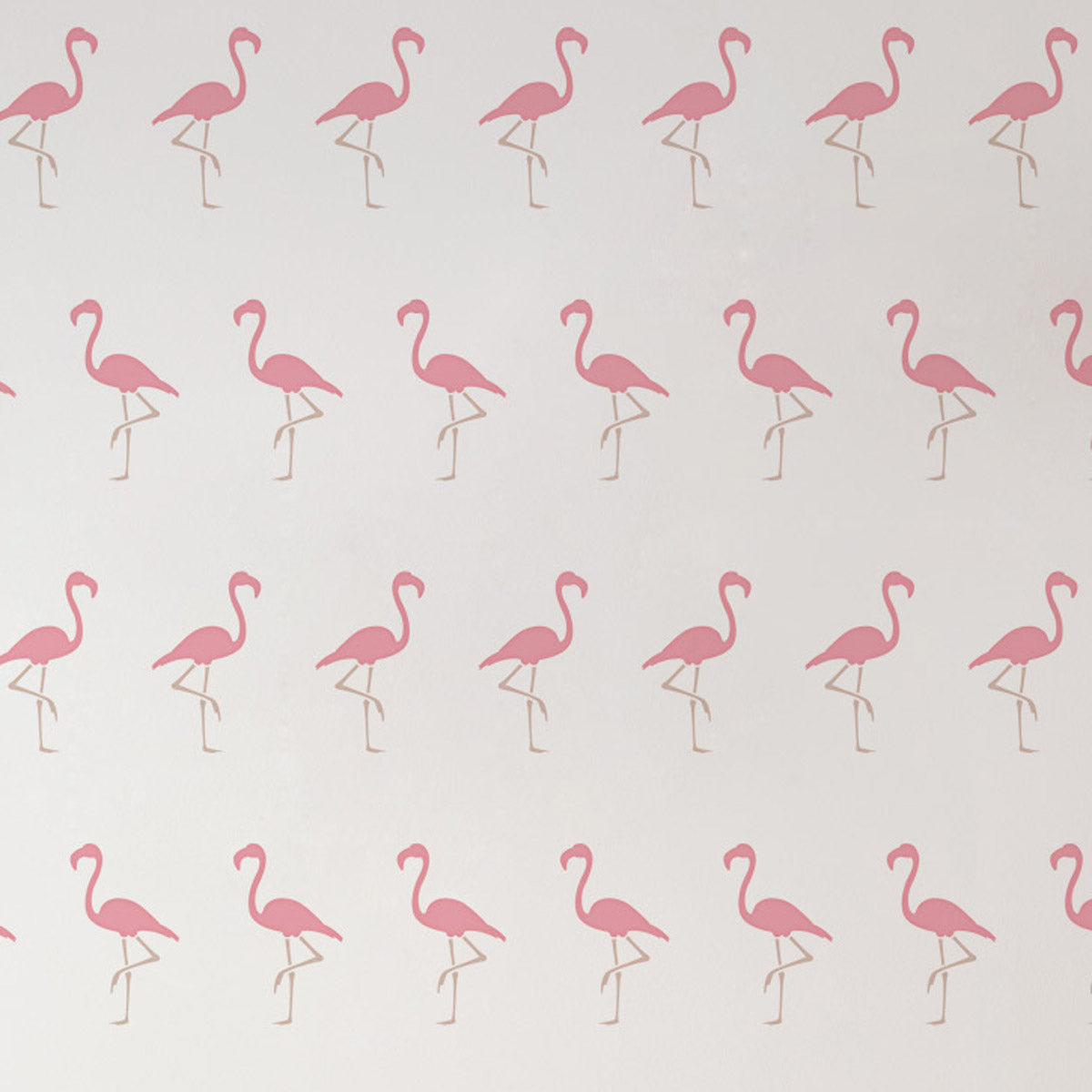 CraftStar Flamingo Wall Stencil - Allover Repeating Pattern Close Up View