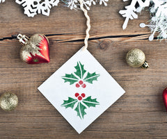 CraftStar Christmas Holly Stencil on Gift Tag