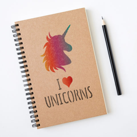 CraftStar I Love Unicorns Stencil on notebook
