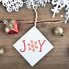 CraftStar Joy Stencil Word Template on Christmas decoration