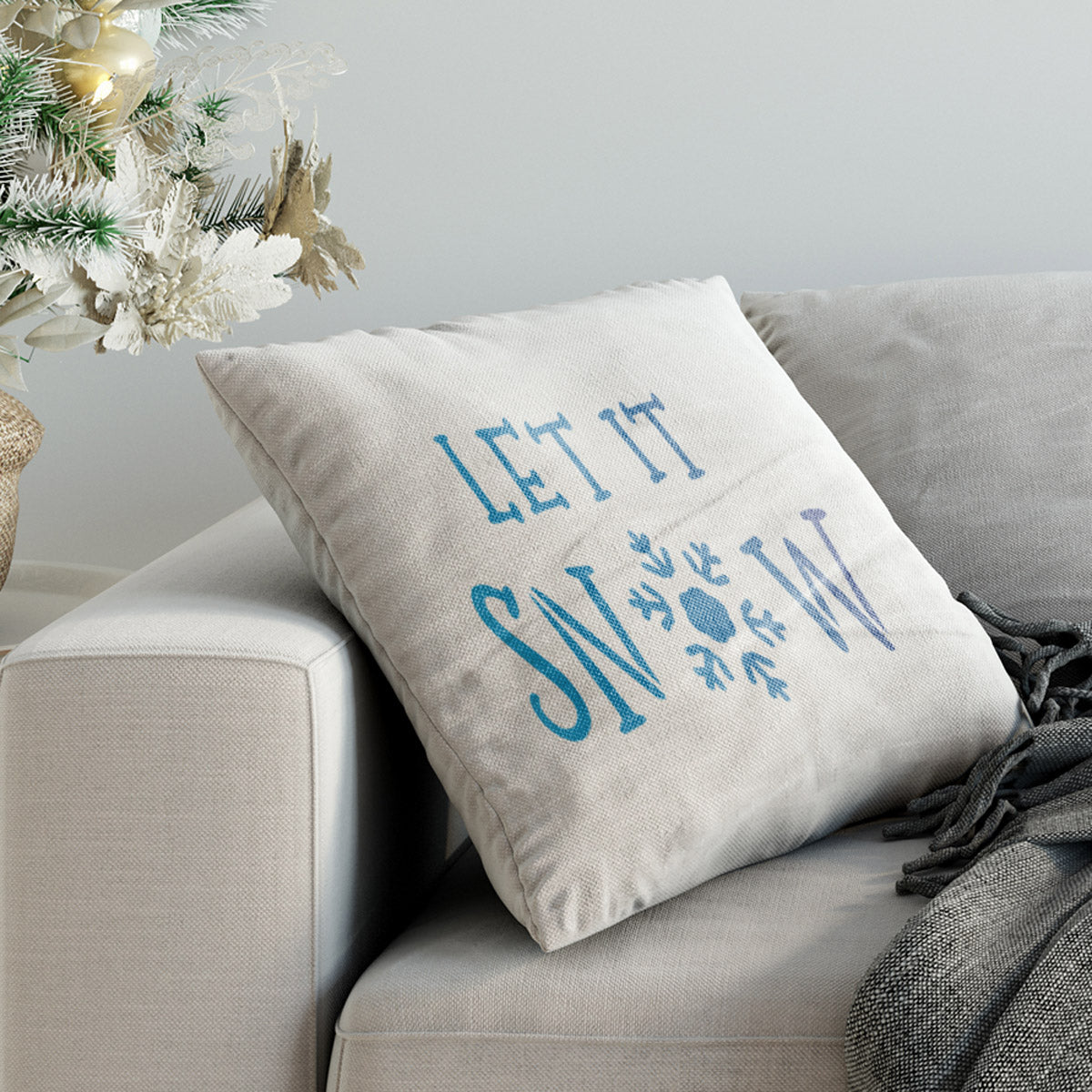 CraftStar Let It Snow Christmas Text Stencil on Fabric
