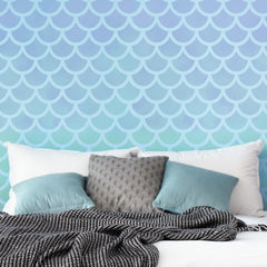 CraftStar Large Mermaid Scales Pattern Stencil on bedroom wall